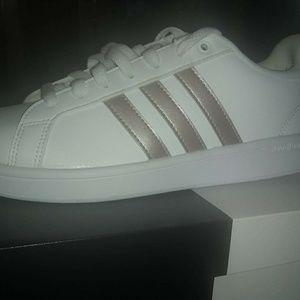 Ladies Adidas,Rose Gold stripes.